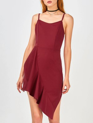 Ruffles Asymmetrical Bodycon Dress - Wine Red