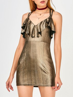 Ruffles Strappy Club Dress - Golden