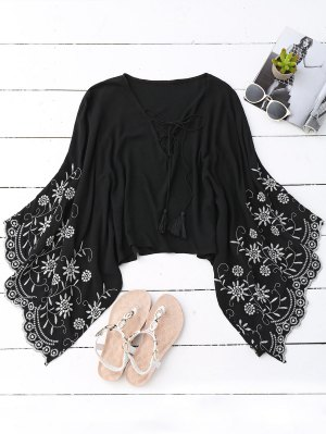Kimono Wide Sleeve Embroidered Blouse - Black