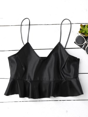 Ruffle Faux Leather Cami Top - Black
