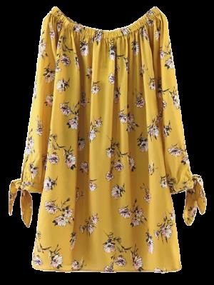 Robe Droite Florale à Manches Nouées - Jaune