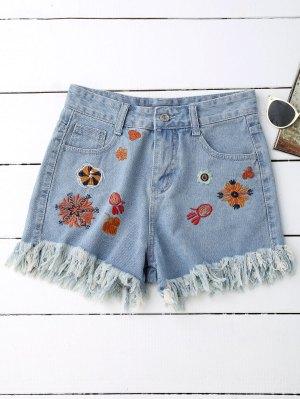 Embroidered Denim Cutoff Shorts - Blue