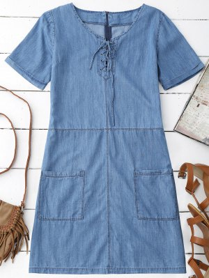 Pockets Mini Chambray Dress - Blue