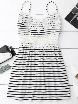 Crochet Trim Flared Cami Dress - White And Black