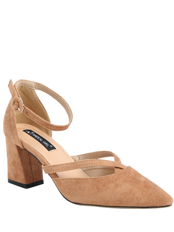 Pointed Toe Block Heel Cross Strap Pumps, Apricot