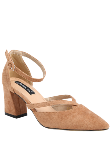 Pointed Toe Block Heel Cross Strap Pumps - Apricot