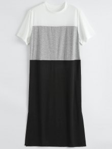 Color Block Slit Shift T-Shirt Dress - Black M