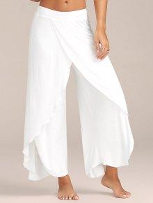 Pantalon Large Fluide Superposé Fendu Jusqu'à La Cuisse  - Blanc