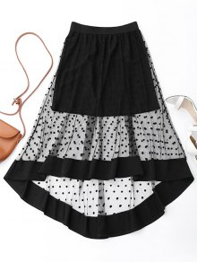 High Low Swiss Dot Mesh Skirt