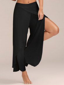 High Slit Flowy Layered Wide Leg Pants - Black
