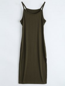 Ribbed Slit Bodycon Tank Dress