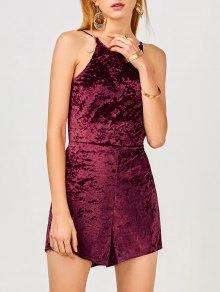 Cami Open Back Velvet Romper - Wine Red M