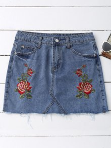Rose Embroidered Denim Skirt