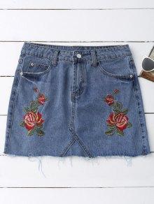 Rose Embroidered Denim Skirt - Denim Blue