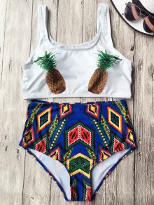 High Waist Argyle Pineapple Bathing Suit