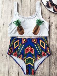 High Waist Argyle Pineapple Bathing Suit - White