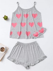 Heart Pattern Cami Top with Ruffles Shorts