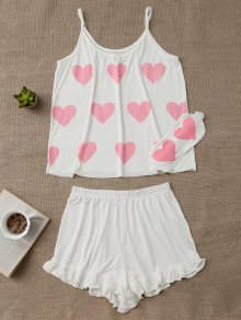 Heart Pattern Cami Top With Ruffles Shorts - White