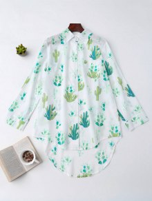 High Low Cactus Print Shirt Loungewear - White Xl