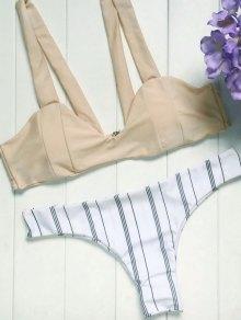 Spaghetti Straps Striped Bikini Set