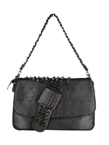 Black Metal Rivets Chain Shoulder Bag