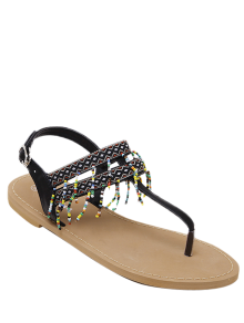 Fringe Geometric Pattern Beading Sandals - Black 37