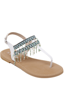 Fringe Geometric Pattern Beading Sandals - White 37
