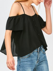 Button Up Cold Shoulder Top - Black S