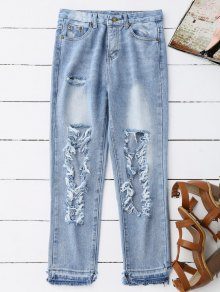 Destroyed Cropped Jeans - Light Blue
