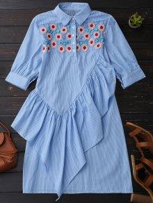 Ruffle Floral Striped Shirt Tunic Dress - Blue