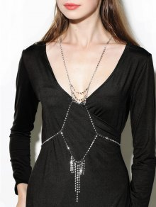 Rhinestone Layered Geometric Fringed Body Chain