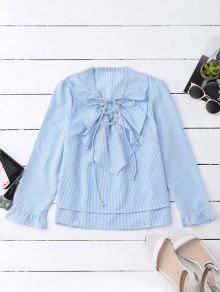 Lace Up Ruffle Poplin Blouse