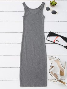Racerback Midi Bodycon Dress - Gray