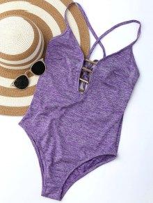 Lace Up Plunge Neck Monokini - Purple
