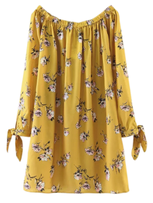 Floral Off Shoulder Shift Dress - Yellow L