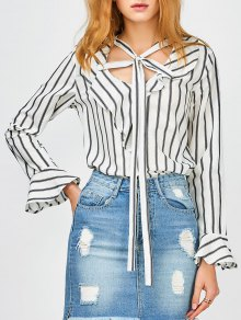 Bow Tie Ruffles Striped Blouse