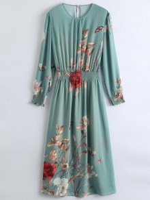 فستان شفاف زهري ماكسي مع فستان كامي - البازلاء الخضراء L