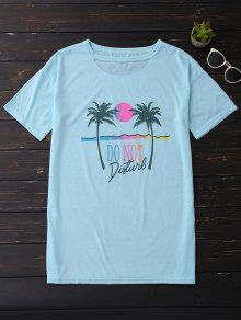 Palm Tree Print Graphic Cut Out Tee