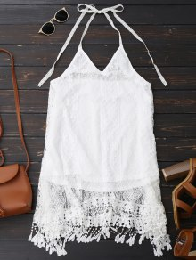 Halter Lace Fringed Backless Dress - White