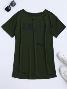 Army Cut Out T-Shirt Dress - Army Green M