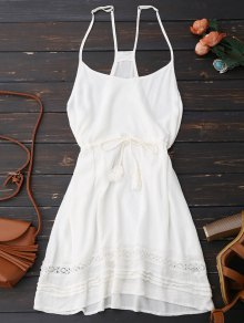 Spaghetti Straps Drawstring Waist Summer Dress - White S
