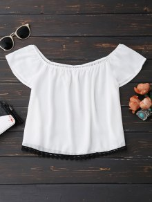 Off Shoulder Chiffon Cropped Top - White M