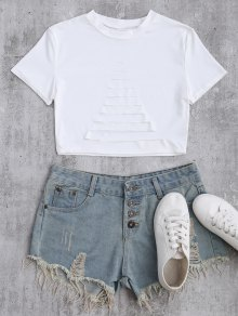 Ripped Front Cropped T-Shirt