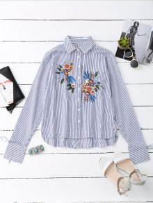 High Low Floral Embroidered Striped Shirt