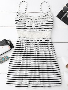 Crochet Trim Flared Cami Dress