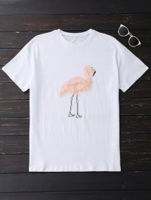 Faux Fur Bird Oversized Tee - White