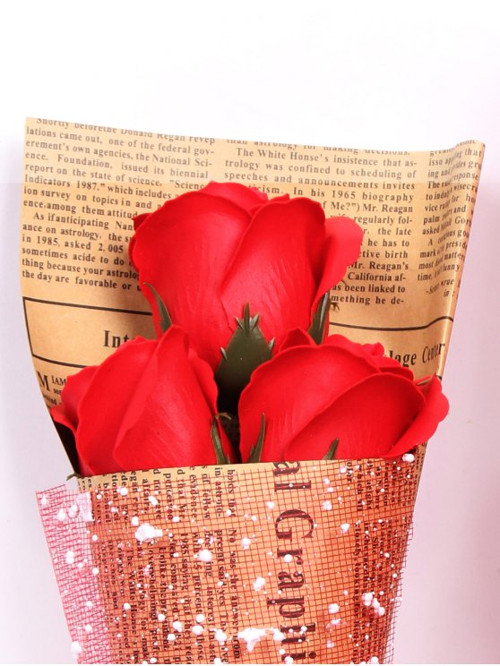 Mothers Day Gift Simulation Rose Soap Flowers Bouquet - RED  Mobile