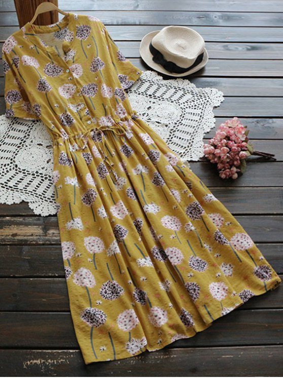 Flower Buttoned Drawstring Waist Shirt Dress - GINGER ONE SIZE Mobile