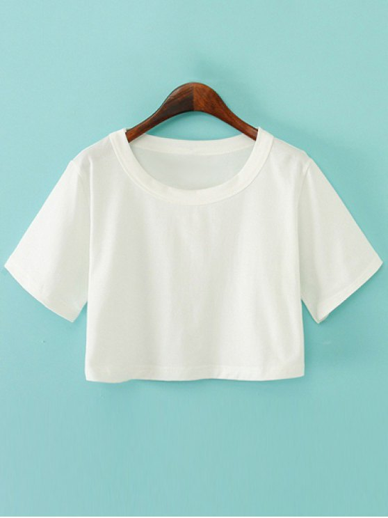 Solid Color Short Sleeve Jersey Crop Top - WHITE ONE SIZE Mobile