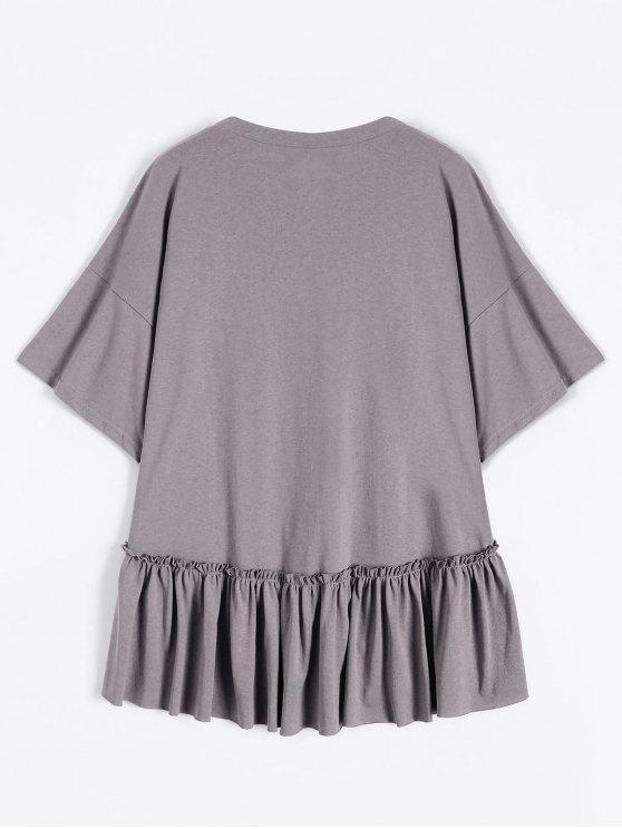 Short Sleeve Ruffle Hem T-Shirt - SMASHING ONE SIZE Mobile